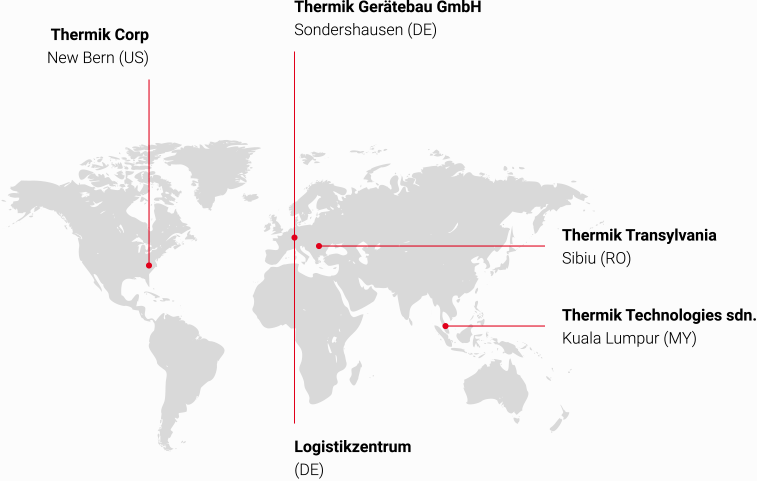 Thermik locations and production plants on a world map